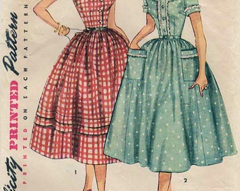 1950s Simplicity 4641 Vintage Sewing Pattern Misses Full Skirt Dress, Party Dress, Shirtwaist Dress Size 14 Bust 32, Size 20 Bust 38