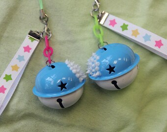 Blue and White Giant Bell Charm with Star Ribbon Phone Charm or Keychain - Decora Kei - Pop Kei - Kawaii - Cute - Stars - Rainbow