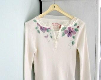Shirt, Painted Shirt, Girls, Size 7 or 8, Long Sleeved, Party Shirt, Upscaled, Altered, by enfantjoli on etsy