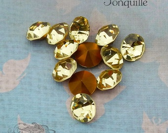 Vintage Czech Rhinestones  ss47 Jonquil Optima Preciosa Pointback Chatons With Gold Foil (choose 6 pc or 12 pc)
