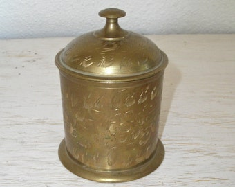 brass container with lid - gold cannister with etched designs from india - metal mettalic dresser trinket box - bohemian style