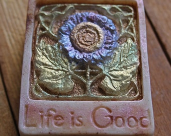 Life is Good oatmeal soap - warm cinnamon oatmeal - Organic and Fair Trade Ingredients