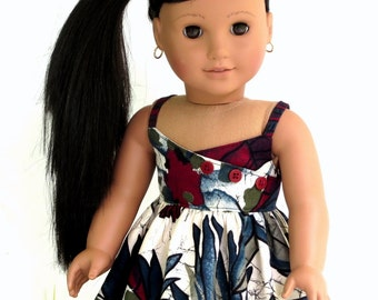 Hawaiian Print Tropical Sundress and Sandals, Handmade American Girl Doll Clothes Summer Doll Dress and Doll Sandals