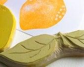 lemon stamp set, hand carved rubber stamps, handmade rubber stamp set