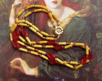 Double Strand Necklace Beaded Yellow Red Jewelry, Vintage Inspired Necklace, Mustard Jewelry Beaded Necklace Gift Jewelry, Vintage Inspired