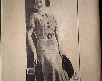 Instructions for a 1930s Ann Adams Dress Pattern.  It's for Pattern x-2548   Size 20 38 Bust