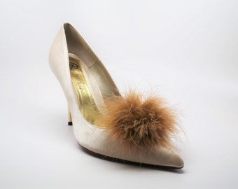 Detachable Feather Puff Pom Pom Shoe Clips  Set of Two Tan