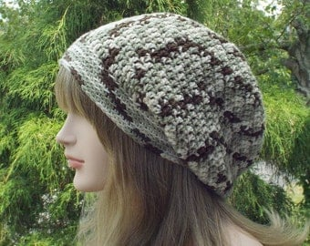 Green and Brown Slouchy Beanie, Womens Crochet Hat, Slouchy Hat, Oversized Slouch Beanie, Hipster Hat, Slouch Hat, Baggy Beanie