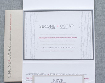 Rustic Silver and Gold Fall Pocket Wedding Invitation    Simone & Oscar