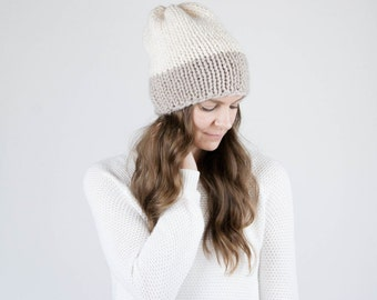 Knit Slouchy Two-Tone Hat / THE FRONTIER / Fisherman and Linen