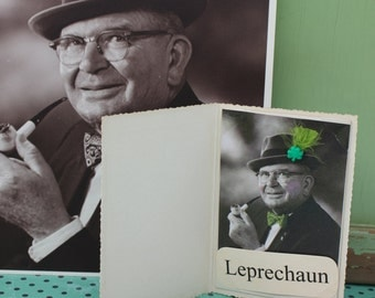 St. Patrick's Day Vintage Leprechaun Card with Black and White Photo, Listing is for ONE