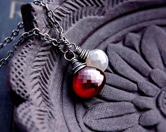 Garnet Necklace, Garnet Pendant, Moonstone Pendant, Moonstone Jewelry, Rainbow Moonstone, January Birthstone, Wire Wrapped, Sterling Silver
