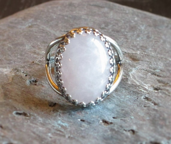 pink quartz ring antique silver ring gemstone ring pale