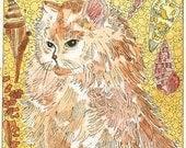 Persian Kitty and Seashells ACEO Print by Theodora