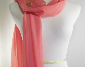 Bridal Scarf - Coral Pink Wedding Scarf -  Bridesmaid Scarf - Evening Wrap - Extra Long Coral Pink Chiffon