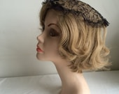 1960s Chapel Veil Cap Mantilla Church Head Covering Halo Black Chantilly Lace