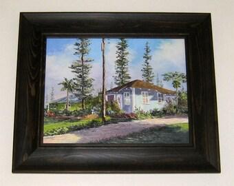 TROPICAL PLANTATION HOUSE Framed Original Palette Knife Oil Painting Art Lana'i City Hawaii Island Hale Hawaiian Cottage Vacation Flowers
