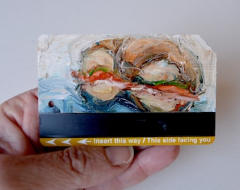 Art Oil Painting New York City Bagel w Lox on Recycled NYC Subway Card