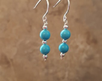 Teal Glass Bead with Sterling Silver Beads
