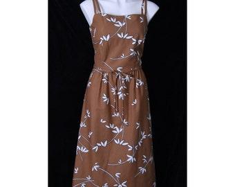 SALE 1970's MALIA Vintage Sundress Soft Brown Bamboo FLORAL Deadstock