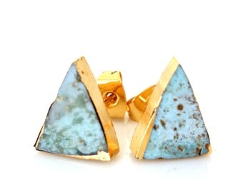 SALE 50% off - TRIANGLE Natural TURQUOISE Stud Earring