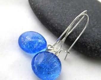 Dichroic Earrings - Ocean Blue Earrings - Fused Glass Earrings
