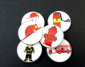 "6 Fireman Buttons.  3/4"" or 20 mm round fire fighter sewing buttons. Handmade By Me.  Washer and Dryer Safe."