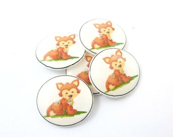 "5 Red Fox Buttons. 3/4"" or 20 mm  Handmade Woodland Animal  Decorative Novelty sewing buttons."