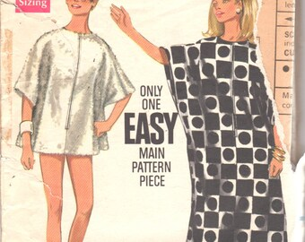 1960s Butterick 4889 Misses Easy Zip Front Cover Up Caftan Pattern Womens Vintage Sewing Pattern One Size
