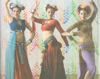 Simplicity 3832 Belly Dancing Costume Pattern Dance Studio Harem Pants Skirt Shrug Womens Sewing Size 6 8 10 12 But 30 - 34 UNCUT