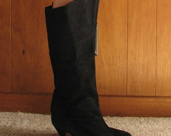 ITALIAN BLACK SUEDE fold down boots, 8.5