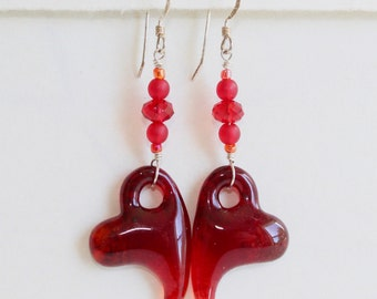 Heart Earrings with Glass Beads on Sterling Silver Wire, Fused Glass, Handmade Jewelry