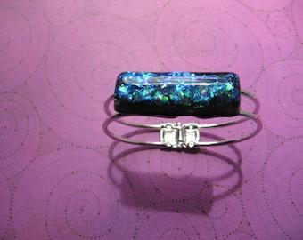 Dichroic Simplicity - faux glass silver bracelet resin wearable art