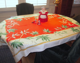 Vintage Tablecloth Tropical Christmas Red & Green Bamboo