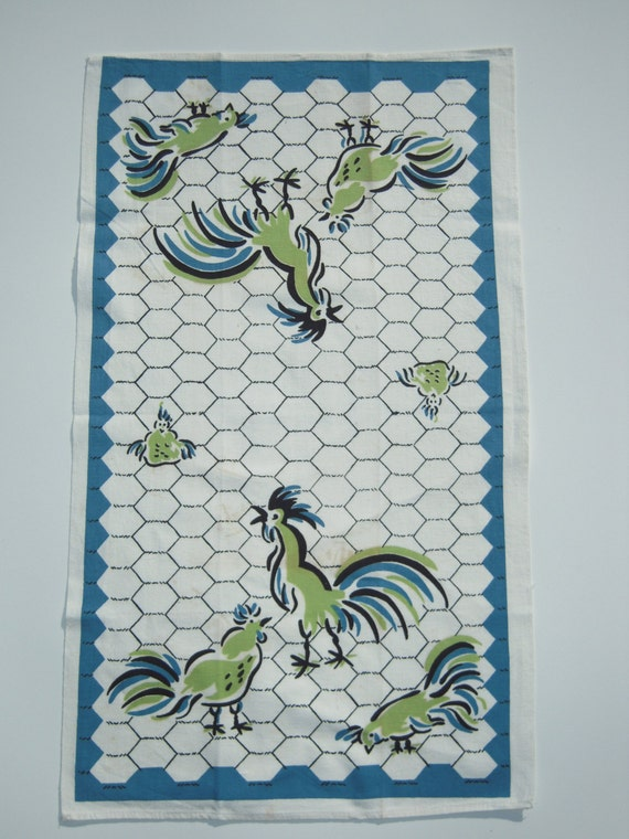 Vintage Cannon Towel Rooster in the Henhouse