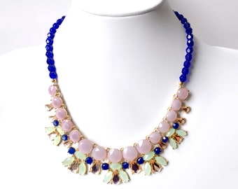 Cobalt and Lavender Bib Necklace in Gold - Blue, Green and Purple Statement Necklace - Unique Statement Necklace - Cobalt Czech Glass