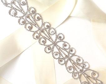 Sash - Dreamy Crystal Wide Wedding Dress Sash - Rhinestone Encrusted Bridal Belt Sash - Crystal Extra Wide Long Wedding Belt