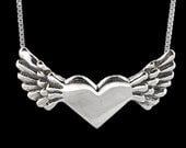 Angel Heart Necklace Angel Heart Charm - Winged Heart Flying Heart Heart with Wings Gift for Mom Mother Daughter Jewelry Valentines Day Gift