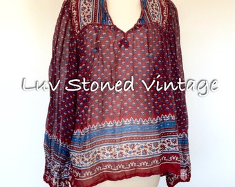 70s Vintage Indian S. Kumar & Co Cotton Gypsy Gauze Festival Boho Hippie Blouse Top Shirt . ML . D138 . 1200.7.22.16