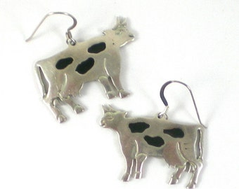 Cow Earrings - Animal Pierced Earrings - Taxco Mexico Sterling Silver Earrings -Vintage Sterling Jewelry