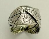 Sterling silver band, oxidized band, botanical ring, woodland band, leaf ring, silver leaves ring, wide wedding band - falling leaves R1638