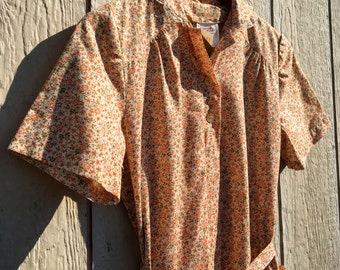 Vintage 1970s 70s Fall Floral Shirt Dress 1970's 70's Quaint Peach Autumn Rustic Print with Pockets XL