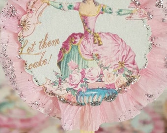 Marie Antoinette - Frilly Pink - Cupcake Toppers - Birthday Cupcake Tops - Bridal Shower Cupcake Tops - Let Them Eat Cake Cupcake Tops