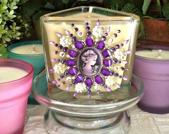 Soy Wax PuRPLe RaiN Burst Embellished Candle, Cameo, Swarovski Crystals, Crystal Flower Cabochons, YOUR SCENT CHOICE, Homemade, Hand Poured