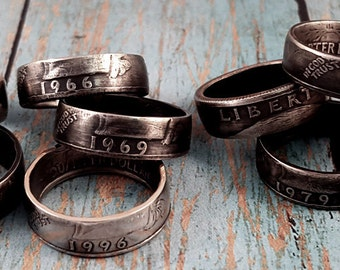 Coin Ring Years 1965-1998 Double Sided Liberty Quarter YOUR SIZE & Date MR0705-Tyrcust