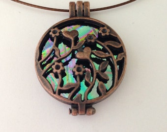 """Flowers in the Field Green Purple and Pink Copper pendant Dichroic Glass and 18"""" brown necklace wire #2200"""