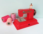 KAY-an-EE Toy Sewing Machine, 1940s Sew Master in Red with Metal Table Clamp