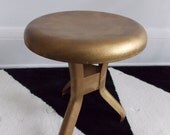 mid century gold tone metal table/vintage 1950s Industrial stool / 50s modernist nesting table