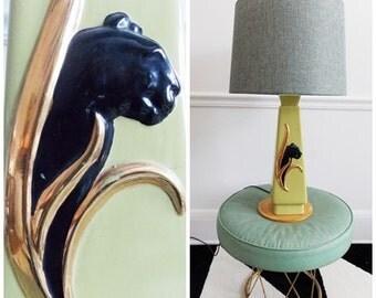 Mid Century ceramic table lamp / 1950s leopard lamp / Mad Men lamp