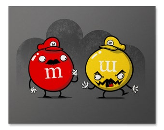 Mario Art Print / Sugary Showdown Print / M&M Print / Nintendo Print /  Wario Art / Video Game Print / Home Decor / 8 x 10